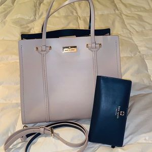 Kate Spade Gray Satchel and Matching Wallet